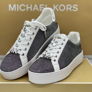 MICHAEL KORS POPPY LACE UP GLITTER CHAIN MESH SILV